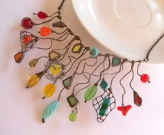Statement necklace stained glass colorful copper wire funky statement jewelry Crazy. $125.00, via Etsy.