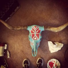 Aztec painted cow skull by TheRusticSkull on Etsy https://www.etsy.com/listing/228712776/aztec-painted-cow-skull