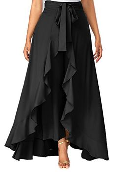 Tie Waist Side Zipper Ruffle Palazzo Pants (in black & gray) Skirt Pants, Dress Skirt, Dress Up, Ruffle Pants, Ruffle Skirt, Skirt Pleated, Chiffon Skirt, Denim Pants, Wrap Pants