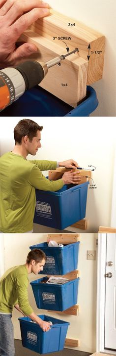 Recycling bins can take up way too much floor space in the kitchen or mudroom. Here's an easy project that will get them up off the floor and out of the way, and it costs almost nothing. Learn how to make these hangers at http://www.familyhandyman.com/DIY-Projects/Home-Organization/Instant-Organization/garage-organization-create-recycle-bin-hangers