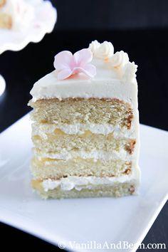 Hot Milk Cake with Lemon Curd and Italian Meringue Buttercream | Vanilla And Bean