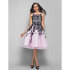 una línea de joyas princesa hasta la rodilla vestido de cena de tul (635925) – EUR € 148.49