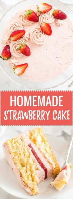 This homemade Strawberry Cake Recipe is bursting with fresh strawberry flavor and made completely from scratch! Layers of soft and fluffy vanilla cake filled with a strawberry buttercream and a layer of fresh strawberry filling. A perfect layer cake for spring and summer!
