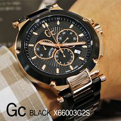 Gc-GUESS-COLLECTION-Watch-Mens-Chronograph-Black-PVD-Bracelet-44mm-X66003G2S
