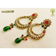 Online Shopping for Antique Earring -   Red Green Gold  | Earrings | Unique Indian Products by Maitri Crafts - MMAIT85284475360 AME 45   Red Green Gold  Length : 8 cm, Breadth at the center : 3 cm maitri_crafts@yahoo.com