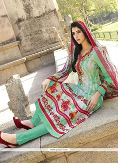 Whimsical Red And Sea Green Embroidered Work Cotton   Churidar Designer Suit…