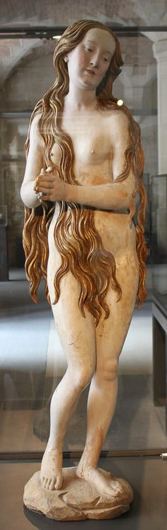 This unusual figure represents saint Mary Magdalene as a mystic ascetic. According to legend, the repentant sinner lived a secluded life in the cave of Sainte-Baume, clothed only by her hair. Every day she was raised up in the sky by angels to hear the heavenly chorus. The statue appeared on the German art market in the 19th century and was purchased by the Louvre in 1902.