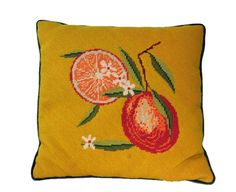 Vintage Stiched Orange Fruit Pillow