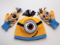 Despicable Me Minion set-Minion Hat and Minion Mittens Gloves- Baby Boy Girl Photo Prop Set -baby halloween outfits by myknittingworld on Etsy https://www.etsy.com/listing/169382236/despicable-me-minion-set-minion-hat-and