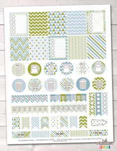 Olive Green and Blue Printable Planner Stickers Weekly Kit – Instant Download PDF for your Erin Condren Life Planner