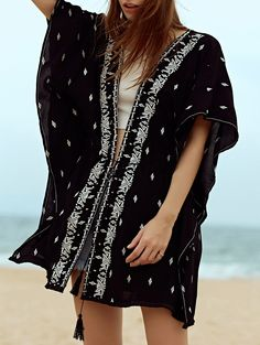 Dolman Sleeve Embroidered Drawstring Blouse - BLACK L