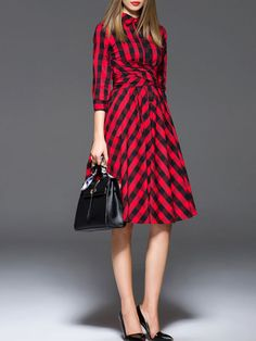 NEW WOMENS ZERACO Bow Cotton Knee Length dress STYLEWE RED BLACK PLAID S 2-4