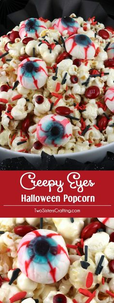 Creepy Eyes Halloween Popcorn - this fun treat is sweet, salty, delicious and chock full of creepy gummy eyeballs, chocolate candy and spooky sprinkles. This fun Halloween Dessert will both scare and delight your guests at this years Halloween Party. Pin this easy to make Halloween Treat for later and follow us for more fun Halloween Food ideas.