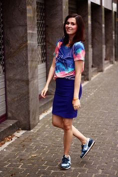 velvet cloud t-shirt, pencil skirt, Nikes