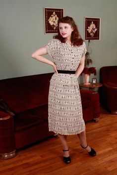 1940s Vintage Suit - Amazing Black and White Rayon Novelty Print Dress Suit with Hunters - Primitive Arts