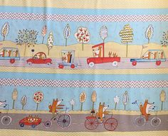 Fabric with Foxes in Carr Trucks and on by OmasFabricAndGifts