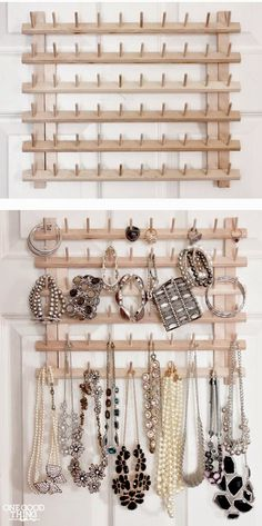 From Thread Rack To Jewelry Organizer. A super simple idea to repurpose the wood. - From Thread Rack To Jewelry Organizer. A super simple idea to repurpose the wooden thread rack into - Jewellery Storage, Jewellery Display, Jewelry Box, Jewelry Ideas, Jewelry Armoire, Gold Jewellery, Jewelry Making, Jewellery Shops, Glass Jewelry