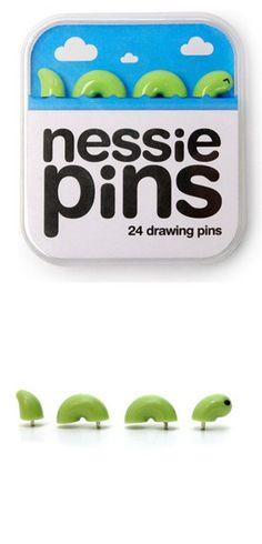 Lochness Monster push pins - so cute!