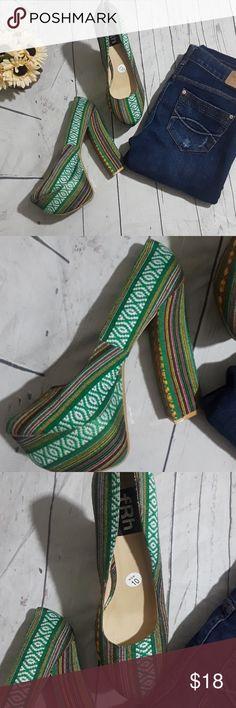 FRH multi color platform shoes Beautiful platform shoes with multi color. The heels are 5 inches and in good condition. FRH Shoes Platforms