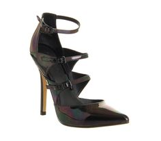 Office Strobe Strappy Point Petrol Hologram Leather - High Heels
