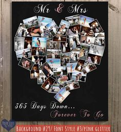First Anniversary Gift, Photo Collage,  Anniversary Gift for Husband,  Anniversary Gift for Wife, One Year Wedding Anniversary by YourLifeMyDesign on Etsy