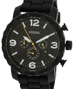 Fossil-Nate-Analog-Chronograph-Black-Dial-Mens-Watch-JR1425-0 #watches