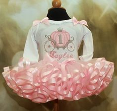 Cinderella Carriage Princess Birthday Super Fluffy Tutu Outfit, 3 pieces includes matching bloomers on Etsy, $84.95