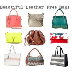 """""""Beautiful Leather-Free Handbags"""" by myfabfitforties on Polyvore Cruelty-free, manmade compassionate shopping #Fashion #Accessories #Vegan"""