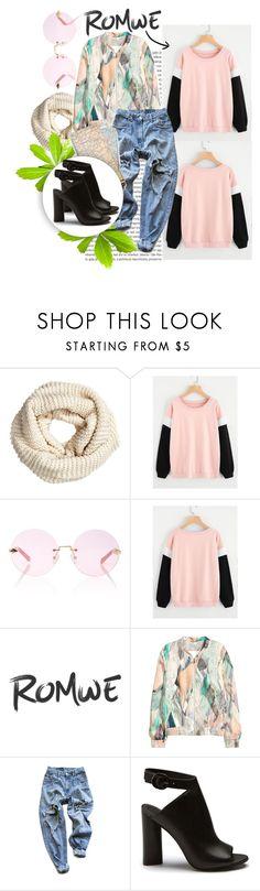 """Romwe : Contrast Sleeve Sweatshirt"" by grgecivancicaa ❤ liked on Polyvore featuring H&M, Oris, Karen Walker and Levi's"