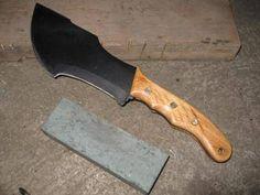 home made tracker knife mahogany wood