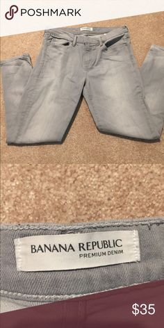 Sale!  Banana republic gray skinny jeans size 30 Sale!  Today only!    I hate to get rid of these, but they just don't fit any more. Excellent used condition, super soft, banana gray denim.  Plenty of stretch!  Mid rise. Skinny fit through hip and thigh. Narrow leg. Five pocket styling. Button closure, zip fly, belt loops.   Waist- 30 Inseam -31 Outseam - 40 Leg opening - 12 inches  Rise - 8.5 inches Hips - 35 inches Banana Republic Jeans Skinny