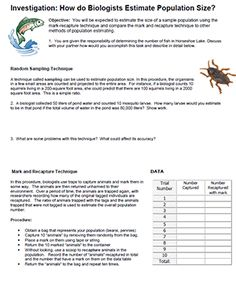 Students simulate how mark and recapture techniques are used to estimate population size. Prepare populations in advance by gathering small objects. Biology Experiments, Biology Lessons, Science Lessons, Life Science, Science Fair, Science Resources, Science Education, Forensic Science, Higher Education