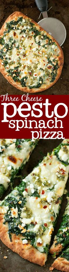 Three Cheese Pesto Spinach Flatbread Pizza :: alternate title: how to eat an entire box of spinach for lunch with out making a salad! (How To Make Dough For Pizza) Pesto Spinach, Spinach Pizza, Pesto Salad, Chicken Pesto Pizza, Spinach Balls, Creamed Spinach, Garlic Chicken, Grilled Chicken, Baked Chicken