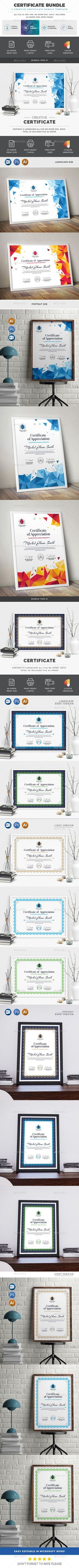 Buy Best Sale Certificate Bundle 2 in 1 by generousart on GraphicRiver. Included Bundle Features of Certificate Template Color Versions Paper Size With Bleeds Quick and ea. Stencil Templates, Label Templates, Best Templates, Newsletter Templates, Print Templates, Design Templates, Gift Certificate Template, Certificate Design, Gift Certificates