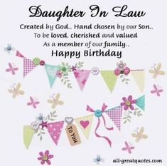 Find the best collection of Birthday Wishes for Daughter In Law to make them never forget this day. Share an emotional and sincere Best Quotes Birthday Wishes For Daughter In Law Greetings images would surely make the day special for your loved ones. Birthday Wishes Greeting Cards, Free Birthday Card, Birthday Wishes Quotes, Happy Birthday Images, Birthday Messages, Happy Birthday Cards, Birthday Bunting, Birthday Ideas, Birthday Parties
