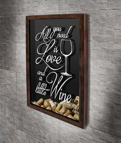 """Quadro para Rolhas - All you need is love and a little Wine 6 Com a frase: """"All you need is love and a little wiine"""" Wine Cork Projects, Wine Cork Crafts, Woodworking Projects Diy, Diy Projects, Home Wine Bar, Diy Aromatherapy Candles, Wine Cork Holder, Bedroom Decor For Couples, Shadow Box Art"""