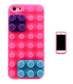 LEGO BLOCK INSPIRED IPHONE 5 5C 5S CASE (FUCHSIA) - $11! I think I'll be this some of my friends have it and love it