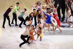 Alex Shibutani of the United States, bottom let, takes a selfie with other figure skaters during the Exhibition of Champions on Day 7 of the ISU World Figure Skating Championships 2016 at TD Garden on April 3, 2016 in Boston, Massachusetts.