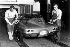 Final buff on a 1963 #Corvette Split Window Coupe at the St, Louis Assembly Plant.