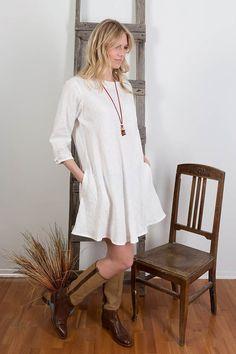 Linen Tunic Dress, Oversized Tunic, White Womens Linen tunic, Casual dress, Long Linen top, Long sleeves, Handmade