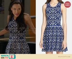 Santana's blue and white patterned dress on Glee.  Outfit Details: http://wornontv.net/28902/ #Glee