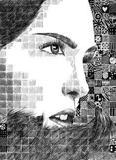 Grid Pattern Portrait: in de stijl van Chuck Close Chuck Close, Portrait Art, Portraits, Classe D'art, High School Art Projects, Ecole Art, Art Curriculum, Drawing Projects, Arts Ed