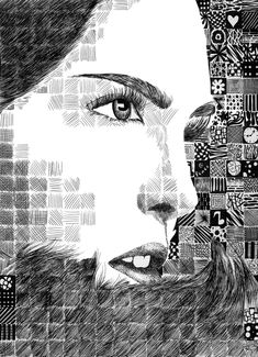 Pair up a study of Chuck Close with talking about using lines to create value - by ~randomWaffle123 on deviantART