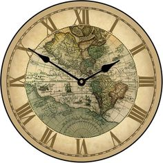 """Large wall 1596 World Map Clock 10""""- 48"""" Whisper Quiet, Non-Ticking #TheBigClockStore"""