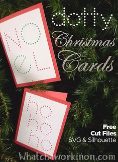 Free SVG & Silhouette cut files for dotty Christmas Cards