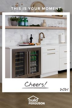 Find everything you need to create the ultimate bar at home. Start with a wine cooler or beverage center, then add a bar sink, lighting, and all the extras. Basement Kitchen, Kitchen Reno, New Kitchen, Kitchen Remodel, Kitchen Design, Home Bar Designs, Kitchenette, Updated Kitchen, Home Remodeling