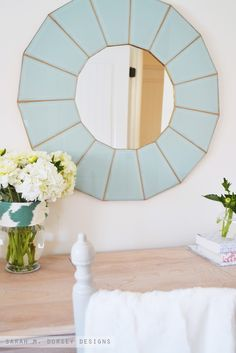 DIY Glass Mirror How To: // From builder-grade 80s glass lantern chandelier to custom beveled mirror