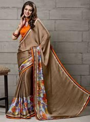 Copper Color Wrinkle Chiffon Party Wear Sarees :  Anupama Collection  YF-42839