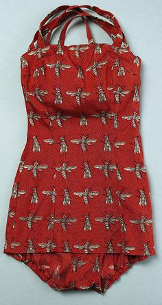 1950s Hermès bee print vintage bathing suit. (Lurex) Metropolitan Museum of Art Accession Number: 1995.131.3