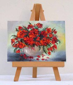 Red Poppies in Vase, original, 3x4,inches, miniature painting, impressionism,floral painting,gift item ,red flowers.